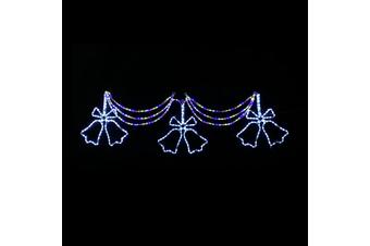 3 Pcs Jingle Bells Curtain Set Multi Colour Twinkling LEDs Christmas Motif Display 150x78cm