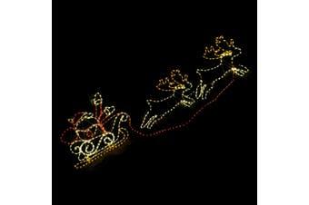 Christmas LED Motif Santa Riding Reindeers in Sleigh 210x70cm Indoor Outdoor Display Sign