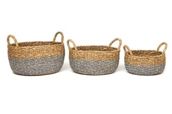 Dohar (Set Of 3) Handmade Seagrass And Jute Basket