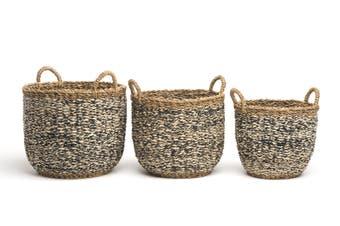 Ebony (Set Of 3) Handmade Seagrass & Jute Basket