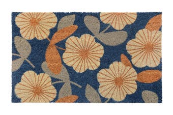 Floral PVC Backed Coir Doormat
