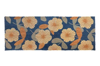 Floral PVC Backed Coir Doormat 45x120 cm
