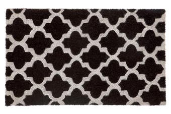 Girih Black and White PVC Backed Coir Doormat