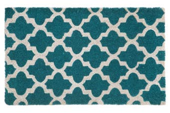 Girih Blue and White PVC Backed Coir Doormat