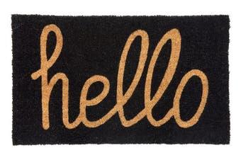 Hello - Black PVC Backed Coir Doormat