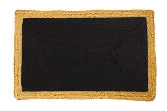 160x230cms Phoenix Black Natural Fibre Jute Rug, Floor Rug, Area Rug