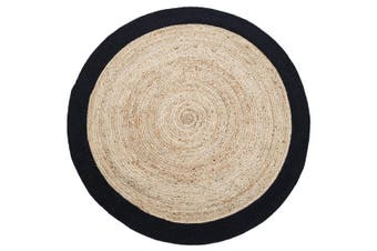 Round Jute Rug | Decorative Floor Rug Phoenix Black & Natural