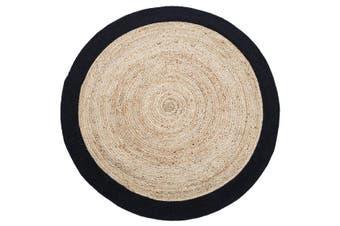 150cm Round Jute Rug | Decorative Floor Rug Phoenix Black & Natural