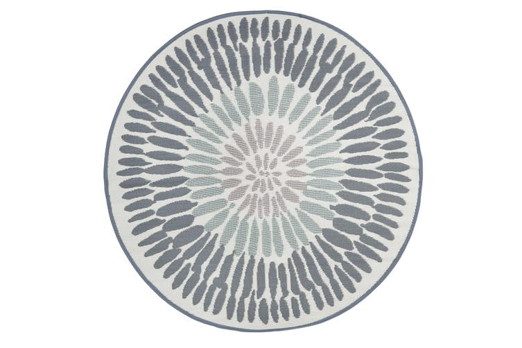 180cm Azores Grey Round Recycled Plastic Outdoor Rug and Mat