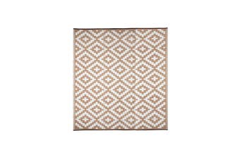 270x270cm Aztec Beige & White Recycled Plastic Outdoor Rug and Mat