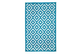 180x270cm Aztec Teal & White Recycled Plastic Outdoor Rug and Mat