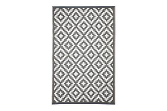 120x179cm Aztec Grey & White Recycled Plastic Outdoor Rug and Mat