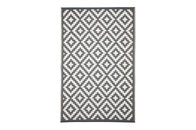 180x270cm Aztec Grey & White Recycled Plastic Outdoor Rug and Mat