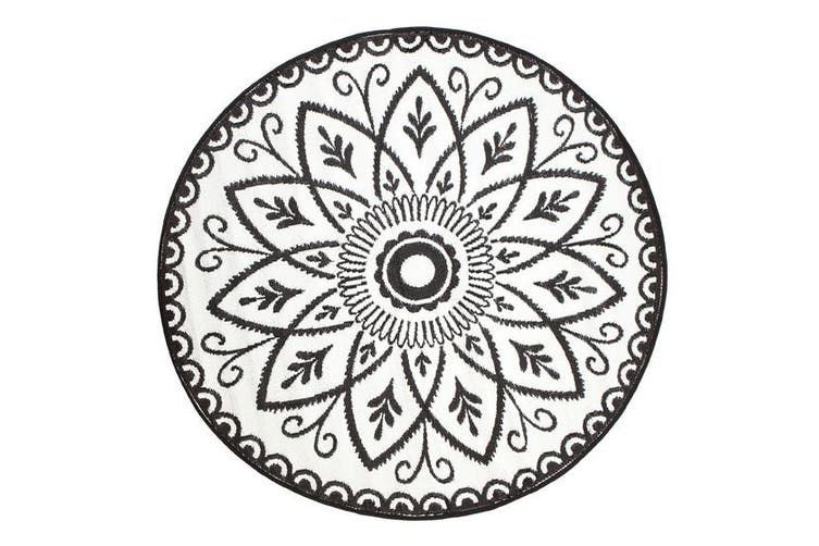 180cm Benaras Black and White Round Recycled Plastic Outdoor Rug and Mat