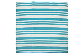 180x180cm Cherai Aqua Folded Recycled Plastic Outdoor Rug and Mat