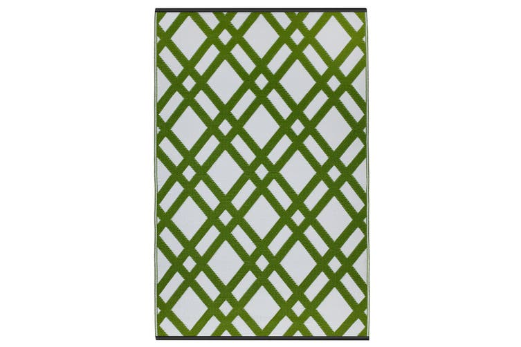 150x238cm Dublin Lime Green & White Recycled Plastic Outdoor Rug and Mat