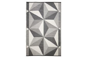 Geo Star Glacier Grey Recycled Plastic Outdoor Rug and Mat