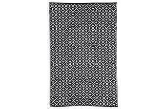 180x270cm Kimberley Black and White Recycled Plastic Outdoor Rug and Mat