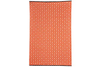 Kimberley Orange and White Recycled Plastic Outdoor Rug and Mat