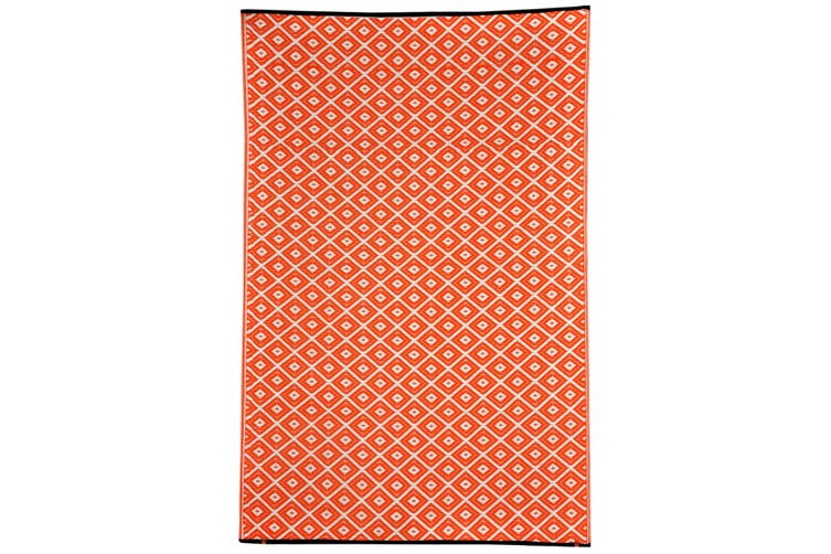 90x179cm Kimberley Orange and White Recycled Plastic Outdoor Rug and Mat