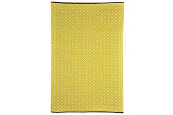 90x179cm Kimberley Yellow and White Recycled Plastic Outdoor Rug and Mat