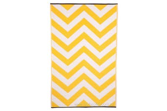 150x238cm Laguna Yellow & White Recycled Plastic Outdoor Rug and Mat