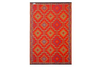 Lhasa Orange & Violet Recycled Plastic Outdoor Rug and Mat