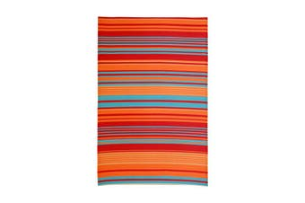 90x179 cm Recycled Plastic Outdoor Rug and Mat Malibu Multicolour Striped