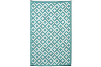 180x270cm Marina Sea Green & White Recycled Plastic Outdoor Rug and Mat