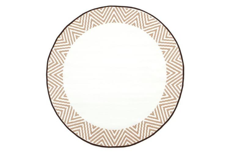 180cm Olympia Beige & White Round Recycled Plastic Outdoor Rug and Mat