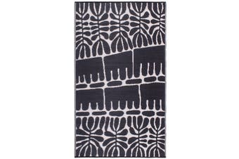 180x270 cm Recycled Plastic Outdoor Rug and Mat Serowe Black and Cream