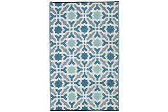 150x238cm Seville Blue Recycled Plastic Outdoor Rug and Mat