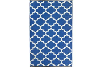 180x270cm Tangier Regatta Blue & White Recycled Plastic Outdoor Rug and Mat