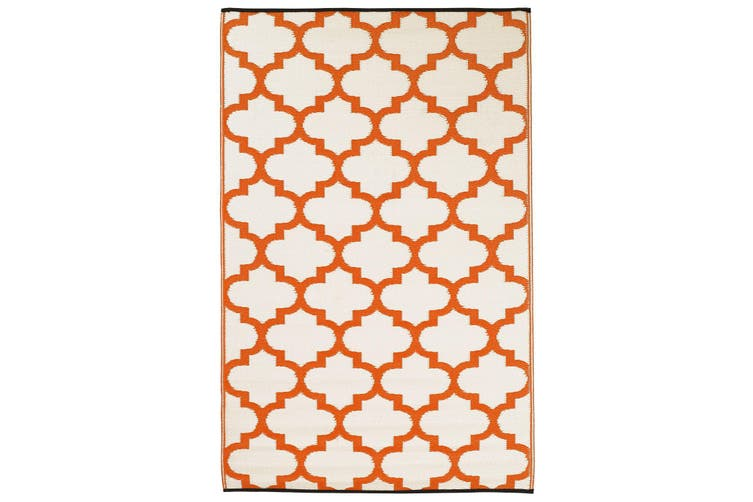 180x270cm Tangier Carrot & White Recycled Plastic Outdoor Rug and Mat