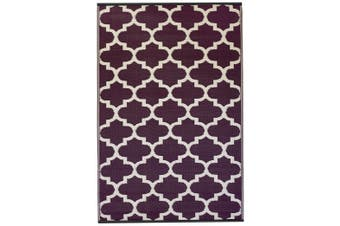 120x179 cm Recycled Plastic Outdoor Rug and Mat Tangier Plum and White