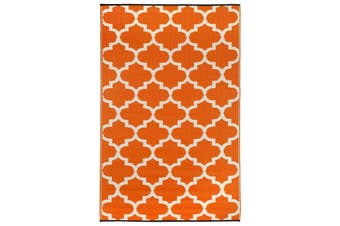 240x300cm Tangier Carrot & White Recycled Plastic Outdoor Rug and Mat