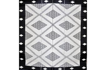 270x270cm Troy Black & Cream Folded Recycled Plastic Outdoor Rug and Mat