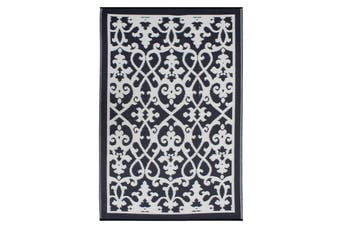 180x270cm Venice Black and Cream Recycled Plastic Outdoor Rug and Mat