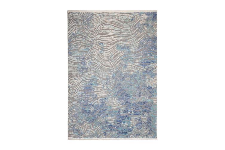 97x150cm Unnao Blue and Grey Indoor Rug, Area Rug, Floor Rug