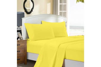 1000TC Ultra Soft Flat & Fitted Sheet Set - King Size Bed - Yellow