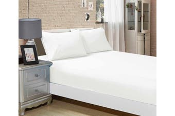1000TC Ultra Soft Fitted Sheet & 2 Pillowcases Set - Queen Size Bed - White