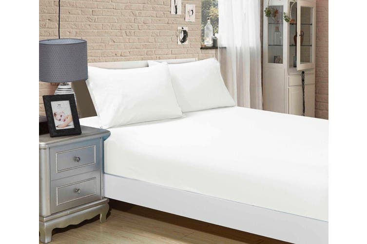 1000TC Ultra Soft Fitted Sheet & 2 Pillowcases Set - Single Size Bed - White