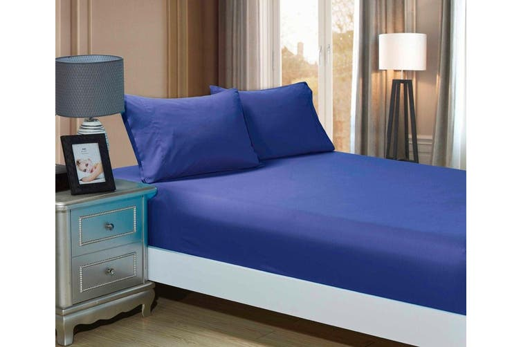 1000TC Ultra Soft Fitted Sheet & 2 Pillowcases Set - Single Size Bed - Royal Blue