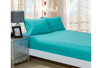 1000TC Ultra Soft Fitted Sheet & 2 Pillowcases Set - Single Size Bed - Teal