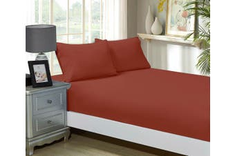1000TC Ultra Soft Fitted Sheet & Pillowcase Set - Single Size Bed - Brick Red