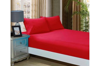 1000TC Ultra Soft Fitted Sheet & 2 Pillowcases Set - Super King Size Bed - Red
