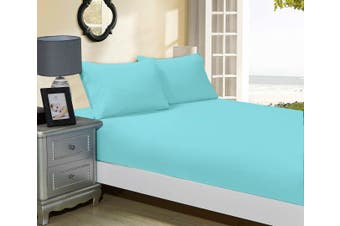 1000TC Ultra Soft Fitted Sheet & 2 Pillowcases Set - Super King Size Bed - Aqua