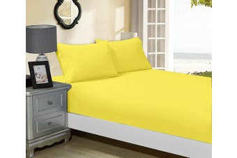 1000TC Ultra Soft Fitted Sheet & 2 Pillowcases Set - Super King Size Bed - Yellow