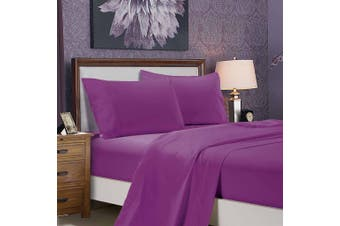 1000TC Ultra Soft Flat & Fitted Sheet Set - Super King Size Bed - Purple