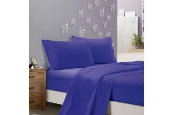 1000TC Ultra Soft Flat & Fitted Sheet Set - Super King Size Bed - Royal Blue